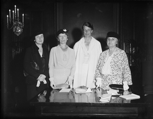 Eleanor Roosevelt (third from left) and Mina Miller (far right) in 1934. They worked together on charitable endeavors.