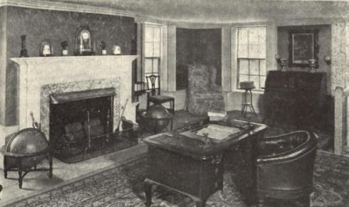 Early photo of the study at the Adams mansion in Quincy, Massachusetts.