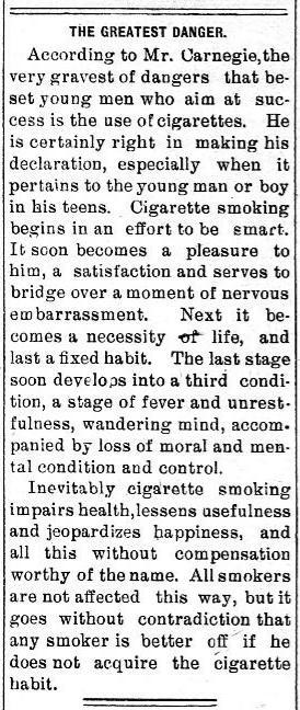 From The Bemidi Daily Pioneer (Bemidji, Minnesota). May 18, 1907.