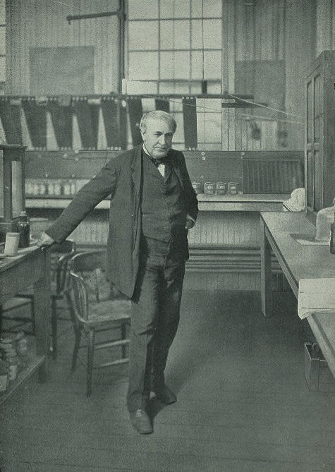 Thomas Alva Edison in his laboratory.