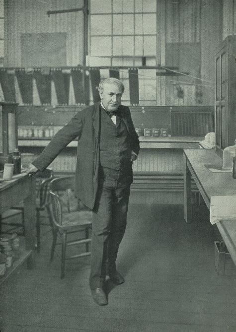 Thomas Alva Edison in his laboratory.