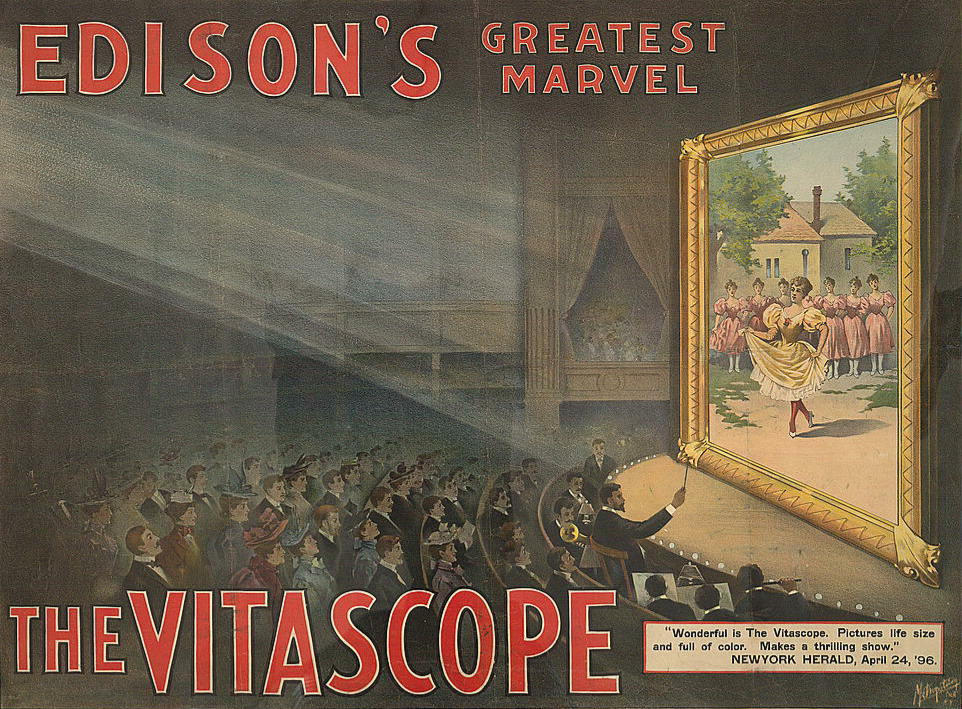 Advertising card for Edison's Vitascope motion picture process, 1897.