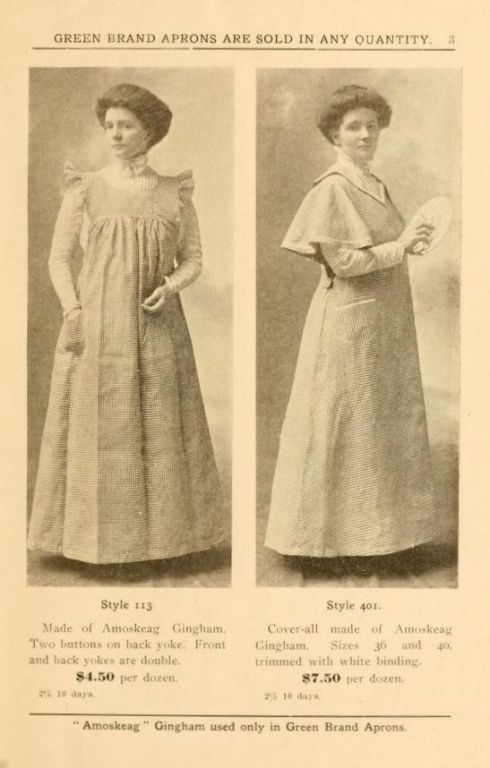 A 1904 magazine ad for Green Brand aprons.