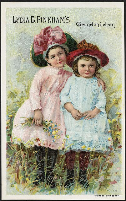 The company's advertising cards encouraged women to think of Lydia Pinkham as a member of the family, as with this trade card which purports to show an image of her grandchildren.