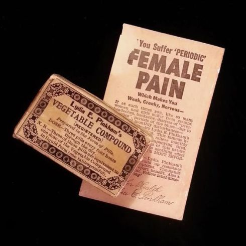 Original early 1900s packaging with insert for Lydia Pinkham's Vegetable Compound pills. From Pinterest.