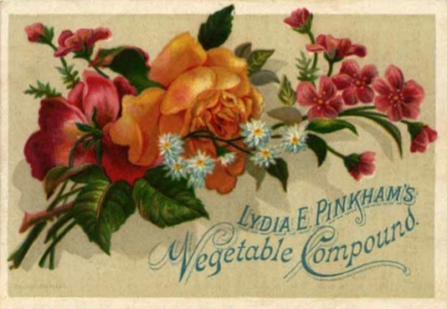 "Many Lydia Pinkham's trade cards featured pleasant artwork, a ""soft sell"" that was pleasing to women."