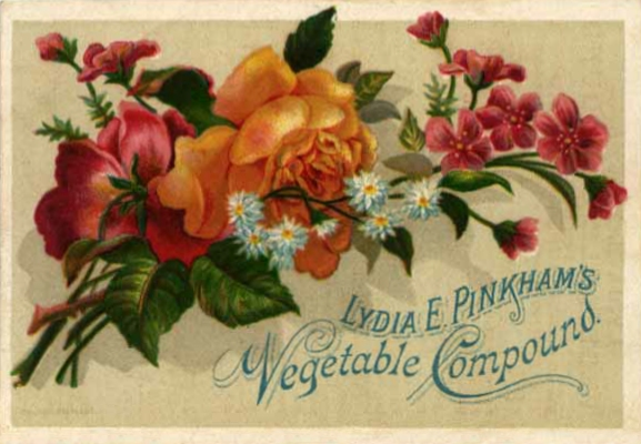 """Many Lydia Pinkham's trade cards featured pleasant artwork, a """"soft sell"""" that was pleasing to women."""
