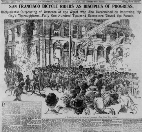 Newspaper coverage of a bicyclist's parade, watched by more than 100,000 San Franciscans.From the San Francisco Call, July 26, 1896.