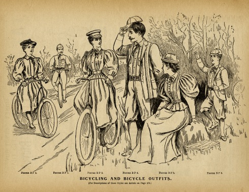 An 1895 magazine illustration of bicycling outfits for men and women.