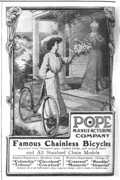 A 1904 ad depicting a corseted female cyclist.