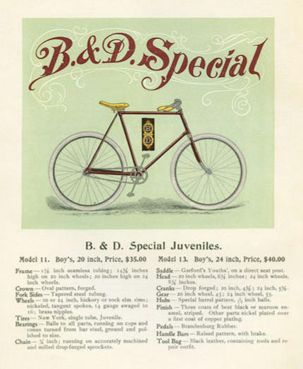 An 1897 magazine ad for boys' bicycles.