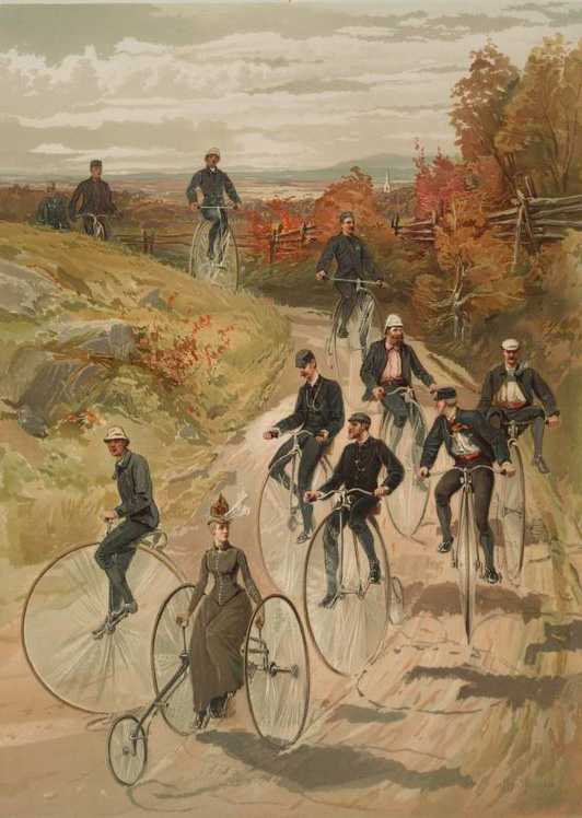 An undated trade card depicting an early bicycle club on the move.