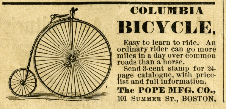 An 1879 bicycle ad.