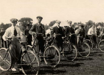 The starting line for a men's bicycle race.