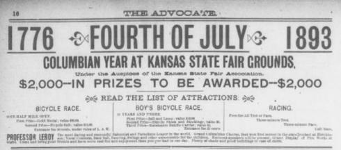 Notice of a bicycle race. From The Advocate (Topeka, Kansas), June 21, 1893.