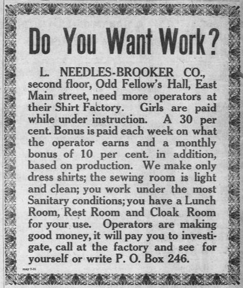 Want ad in the Democratic Advocate newspaper, College Park, Maryland, 1920.