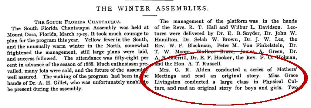 An 1889 announcement from the Florida Chautauqua.
