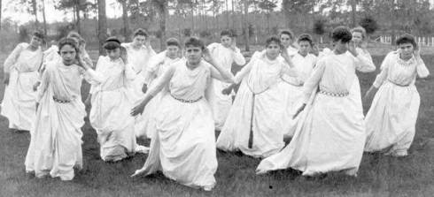 Grace Livingston (front and center) with her Greek Posture Class, about 1889.