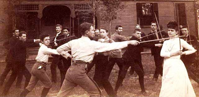 Grace teaching a fencing class in 1890. (From the Rollins College Archives.)