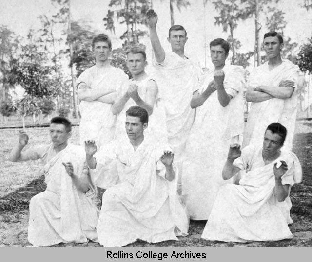 Men's Greek Posture Class, about 1890. From Rollins College Archives.
