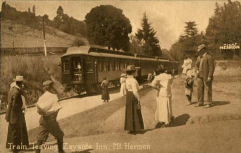 The train station at Zayanta Inn, Mount Hermon, California; 1915.