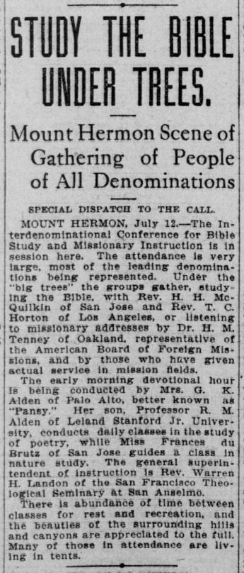 An announcement in the San Francisco Call, July 13, 1906.