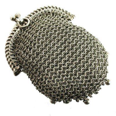 An antique porte-monnaie made of metal mesh