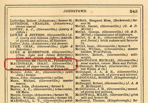 Page from an 1870 Fulton County New York Business Directory.