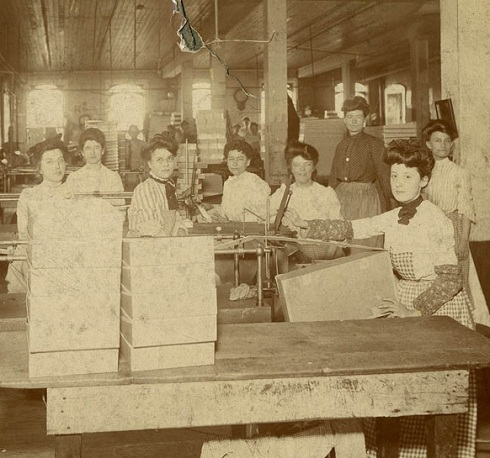 Women workers at a box factory, about 1890.