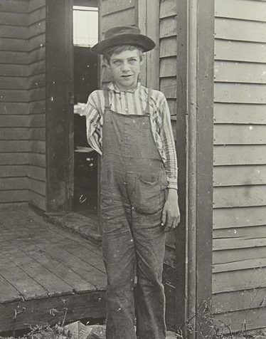 A young box factory worker after an accident with a veneering saw; 1907.