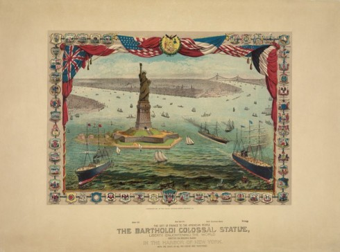An 1884 print illustrating the proposed location of the Statue of Liberty in New York harbor.
