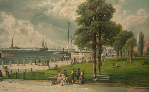 "A view of the ""Statue of Liberty from Castle Garden,"" New York, by Andrew Melrose, 1887."