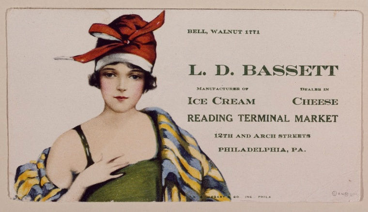 A 1920s advertising flier for the Bassett's Ice Cream stand located in the Reading Terminal Market, Pennsylvania.