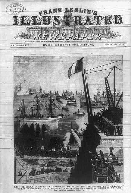 Frank Leslie's Illustrated Newspaper for June 27, 1885, chronicling the New York arrival of the French transport steamer, Isere, with the Statue of Liberty on board.