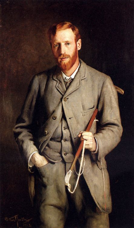 Portrait of the artist's brother, dressed for riding, by Arthur Hacker, 1882.