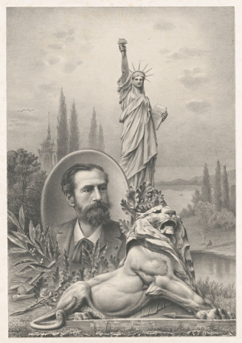 A promotional image of French sculptor Frederic Auguste Bartholdi, with the Statue of Liberty and a sculpture of a lion.