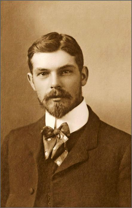 Undated photo of young man with a full beard and moustache. From Pinterest.