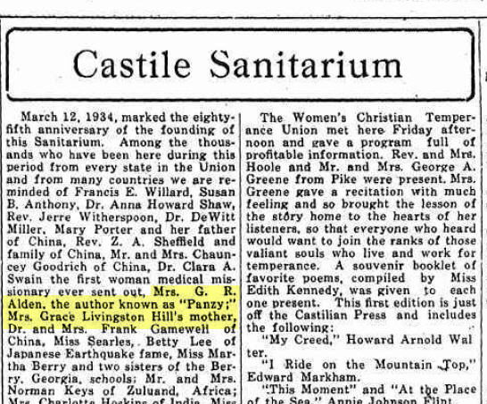 From a 1938 edition of The Castilian, the local newspaper (before the days of patient privacy laws).