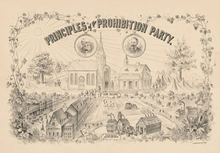 An 1888 illustration of the principles of the prohibition party, showing Americans abandoning saloons, prisons, wineries, and insane asylums for a moral life centered around Sunday school and church.