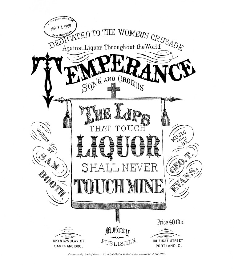 Sheet music for a popular temperance song in 1900.