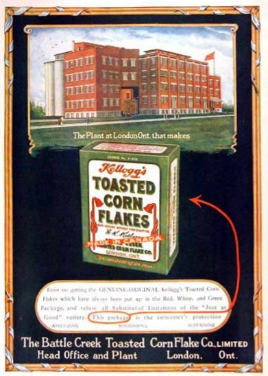 A 1919 magazine ad for Toasted Corn Flakes