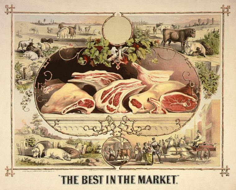 An 1872 trade card for a butcher's shop