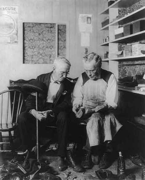 A cobbler with a customer, 1896, from Library of Congress