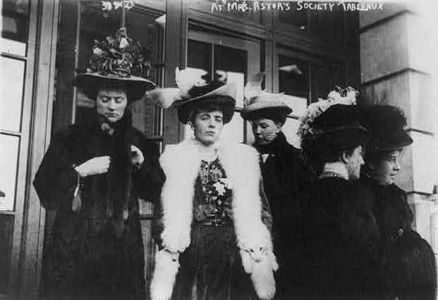 Women attending Mrs. Astor's society tableau in 1908.