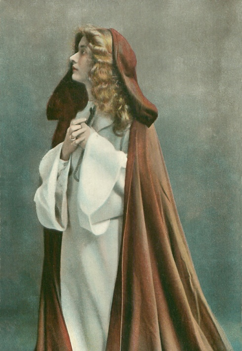 Hand-painted 1905 photo of a woman in Old Testament costume