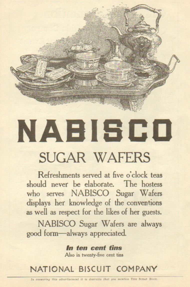 Magazine ad for Nabisco Wafers, about 1910