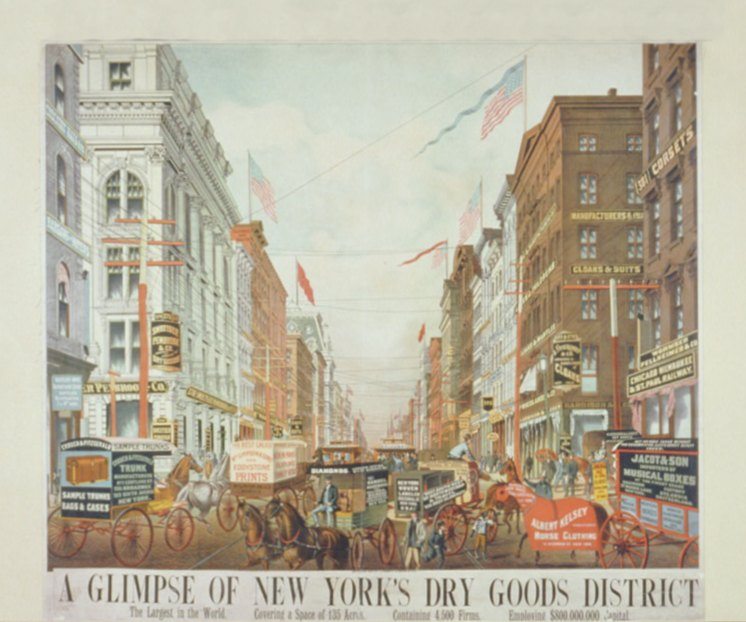Shopping in the dry goods district of New York City, 1886