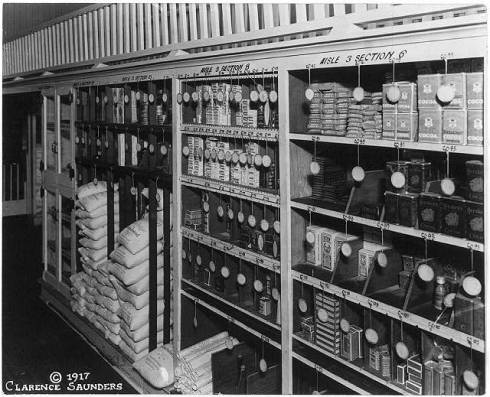 Neat, well-stocked shelves in the Memphis Piggly Wiggly, 1917