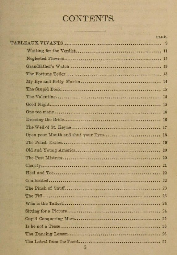 Part of the table of contents for The Book of Tableaux and Pantomimes, with detailed instructions for enacting each tableau