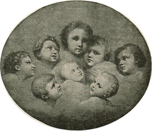Illustration of the baby Jesus asleep with seven cherubs surrounding him.